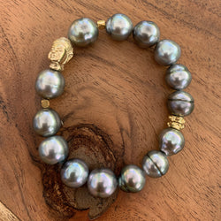 Elastic Tahitian Pearl Bracelet with Gold Filled Buddha Charms and Spacers
