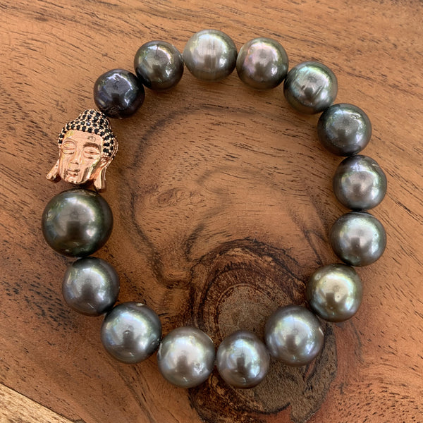 Elastic Tahitian Pearl Bracelet with Silver Rose Gold Plated Buddha Charm