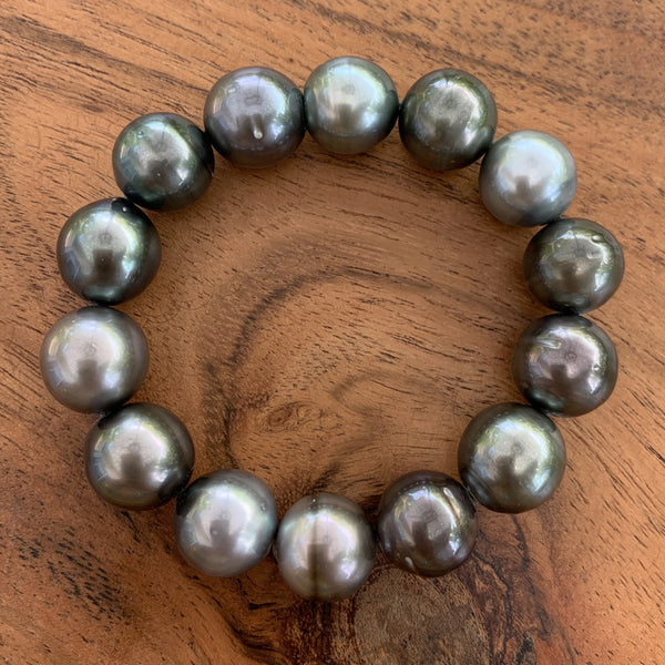 PC #2 Elastic Tahitian Pearl Bracelet Hand Strung with Jewelers Elastic String