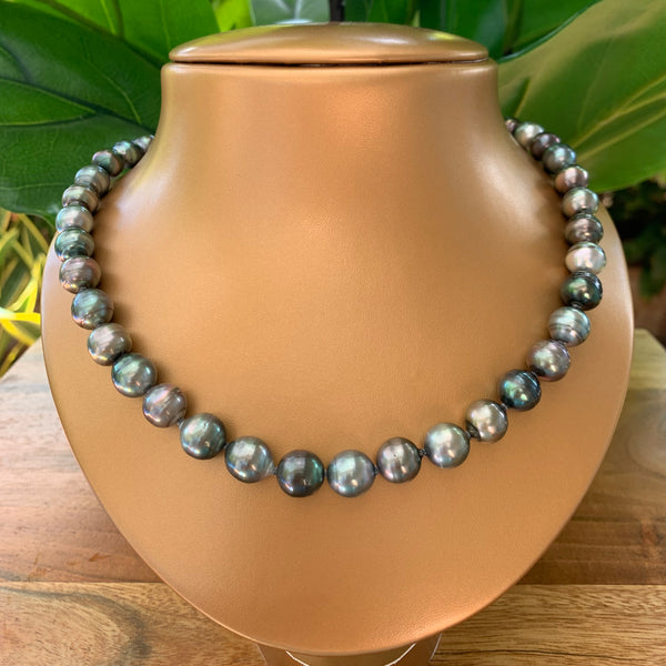 Tahitian Pearl Necklace Rhodium Plated Clasp