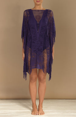 ELISE Purple lace poncho tunic