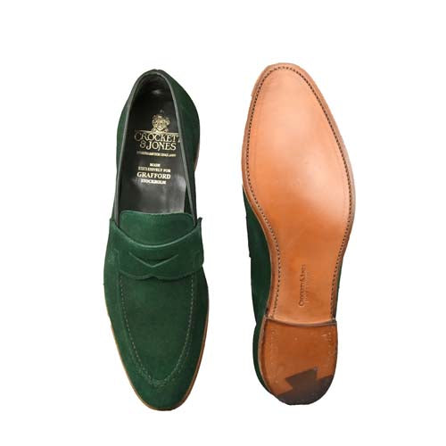 Teign Bottle Green Calf Suede, Crockett & Jones