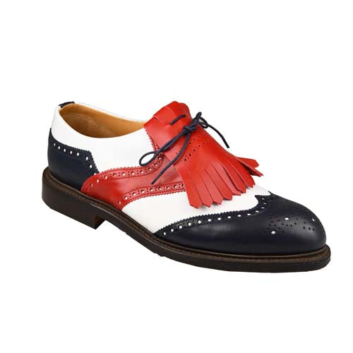 Turnberry golf shoes White & Navy & Red Calf