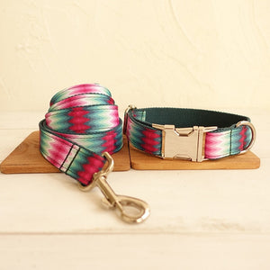 Personalisierbares Hundehalsband Pink & Turquoise Colibri