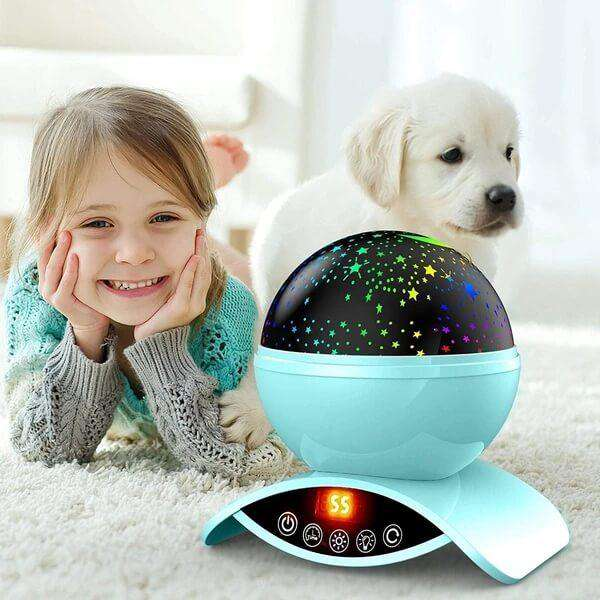 Star Projector Night Light Blue Ceiling Starry Sky with Timer Remote And Chargeable - Elecstars Capturing Stars in the Dream