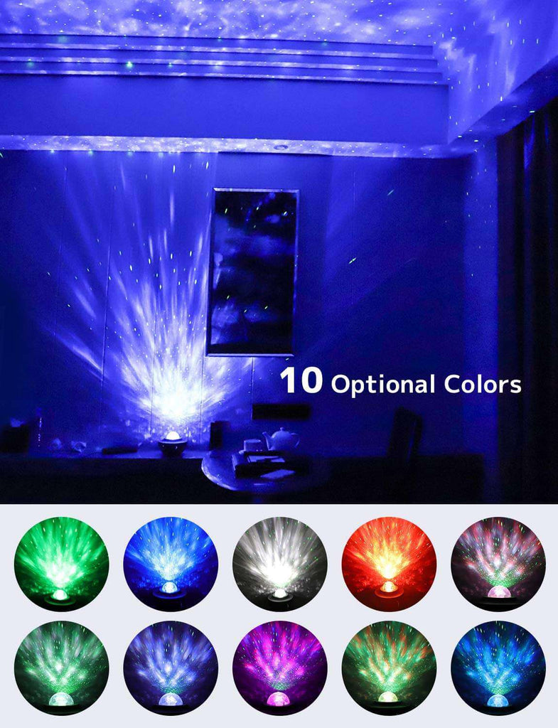 Ocean Wave Baby Night Light Projector with Music for Bedroom Nighttime Sleep Aid - Elecstars Capturing Stars in the Dream