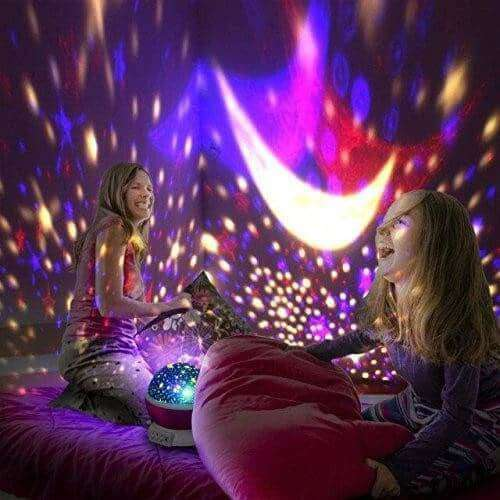 Toddler Moon And Star Night Light Projector Pink Starry Cosmic 360 Degree Rotation - Elecstars.com