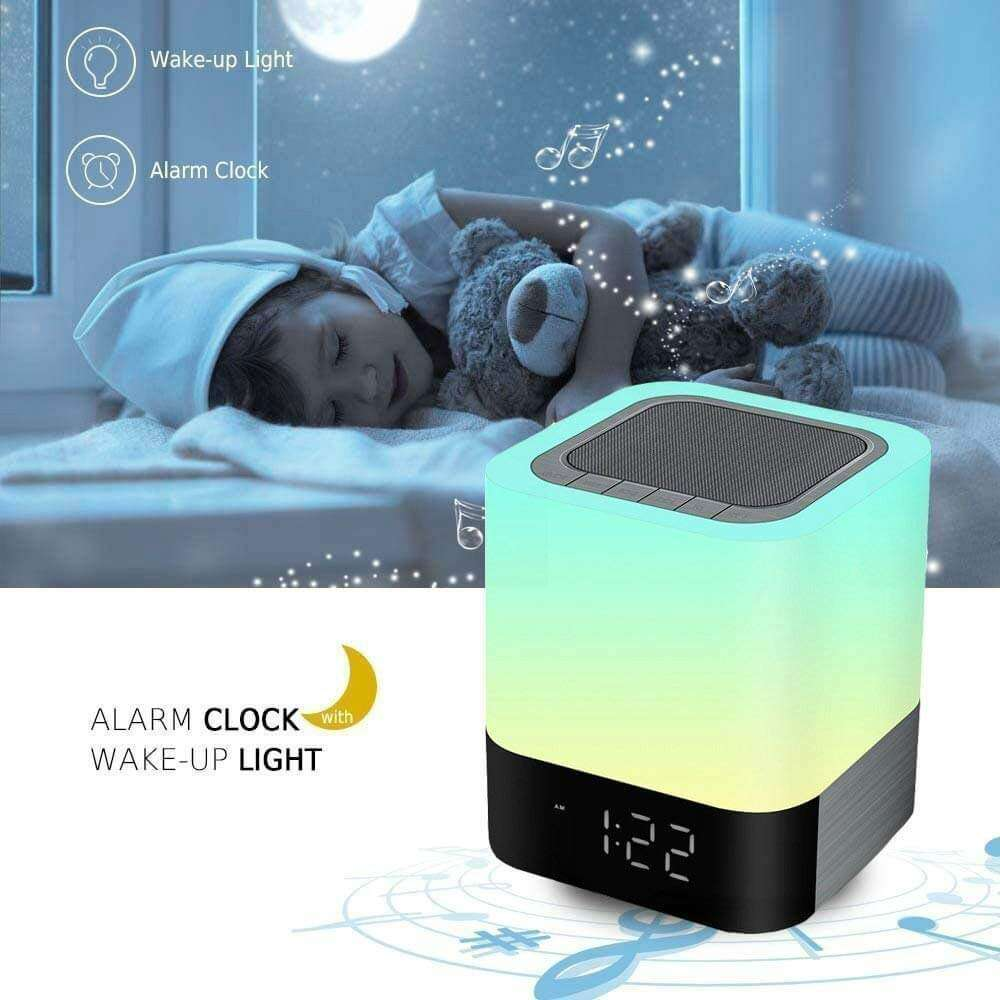 Touch Table Lamps Bluetooth Speaker Alarm Clock with Speakerphone and Microphone 360 Degrees Released - Elecstars Capturing Stars in the Dream