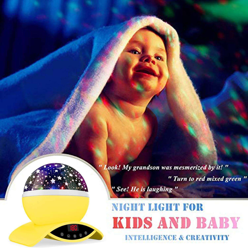 Star Projector Night Light Yellow Ceiling Starry Sky with Timer Remote And Chargeable - Elecstars Capturing Stars in the Dream