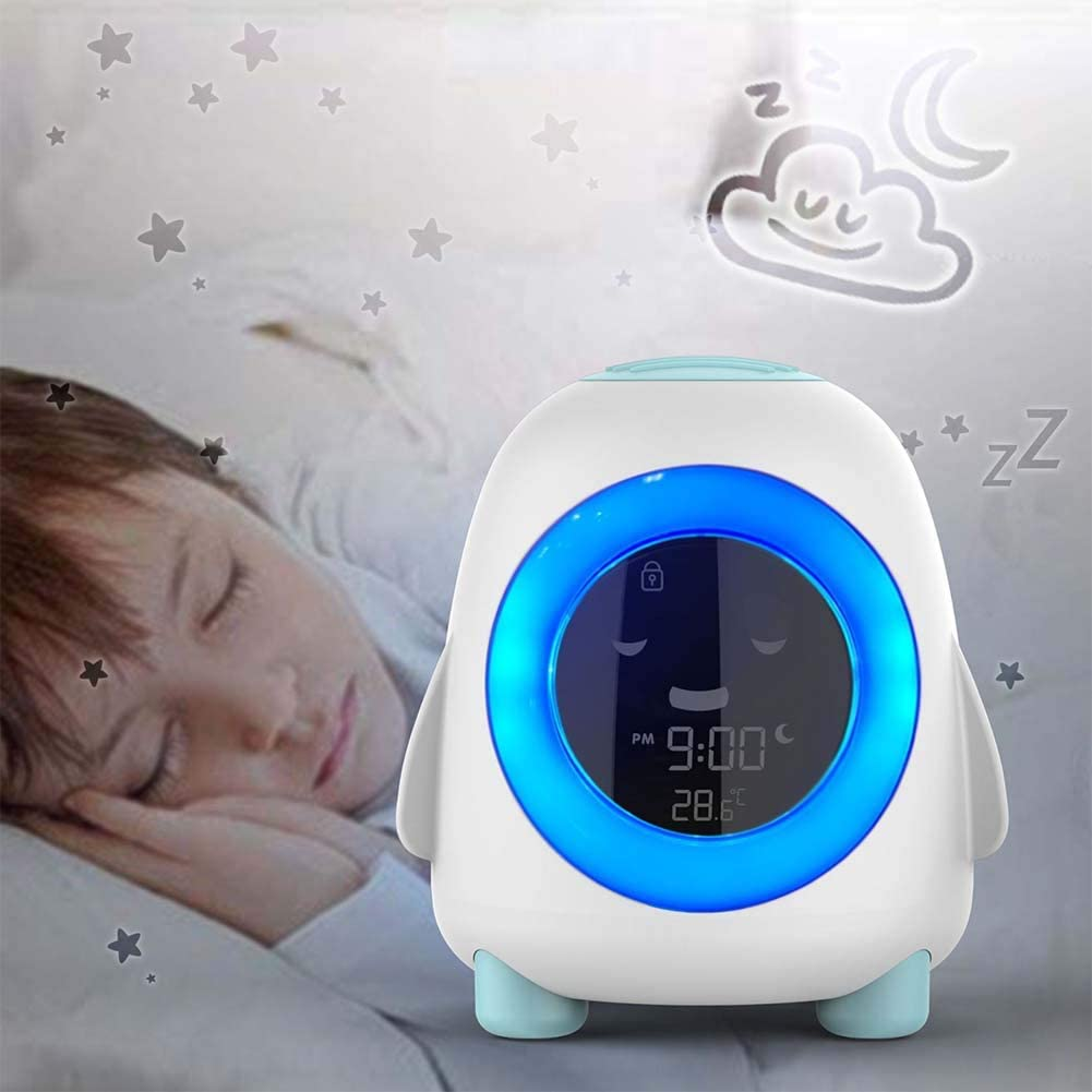 Children's Sleep Training Alarm Clock - Wake Up Clock Night Light Timer Thermometer for Toddlers Kids Girls Boys Bedroom Bedside Clock - Elecstars Capturing Stars in the Dream