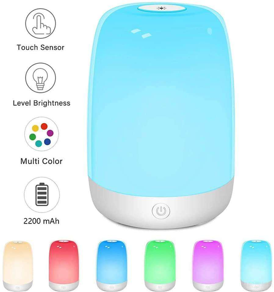 Table Lamp Touch Sensor Bedside Lamp with Color Changing RGB Night Light Rechargeable Night Lamp - Elecstars.com