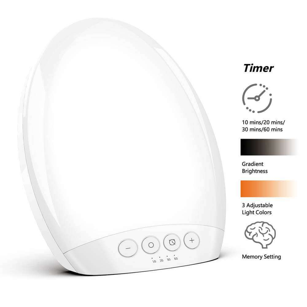 Light Therapy Lamp All Screen 10000 Lux Brightness Memory Settings 3 Adjustable Colors and 5 - Elecstars.com