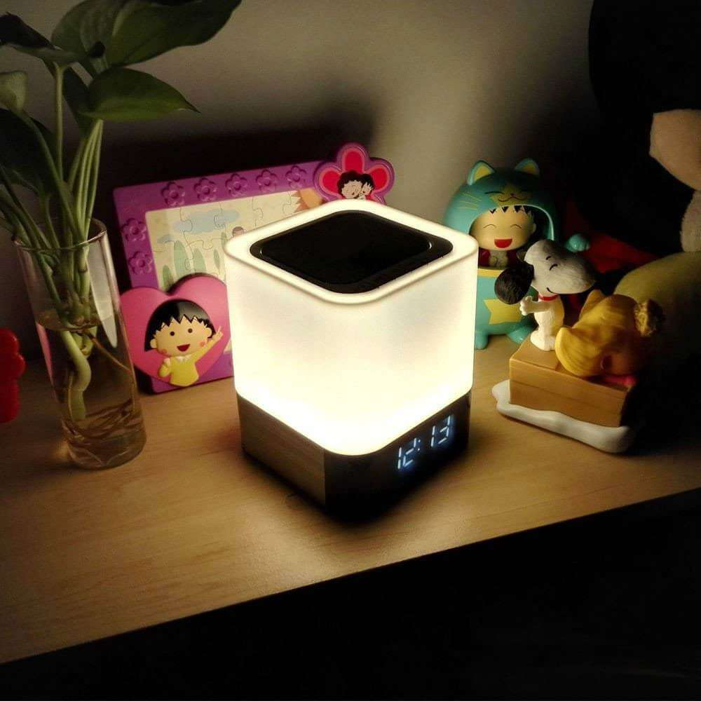 5 in 1 Bedside Lamp with Bluetooth Speaker 12/24H Digital Calendar Alarm Clock Touch Control Support The Best Gift for Kids - Elecstars Capturing Stars in the Dream