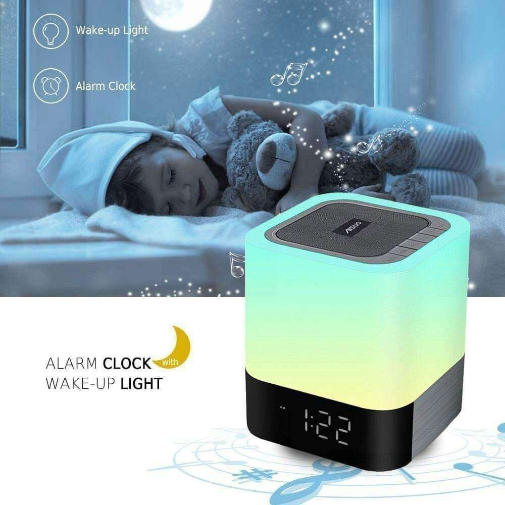 Aisuo 5 in 1 Bedside Lamp with Bluetooth Speaker 12/24H Digital Calendar Alarm Clock Touch Control Support The Best Gift for Kids - Elecstars Capturing Stars in the Dream
