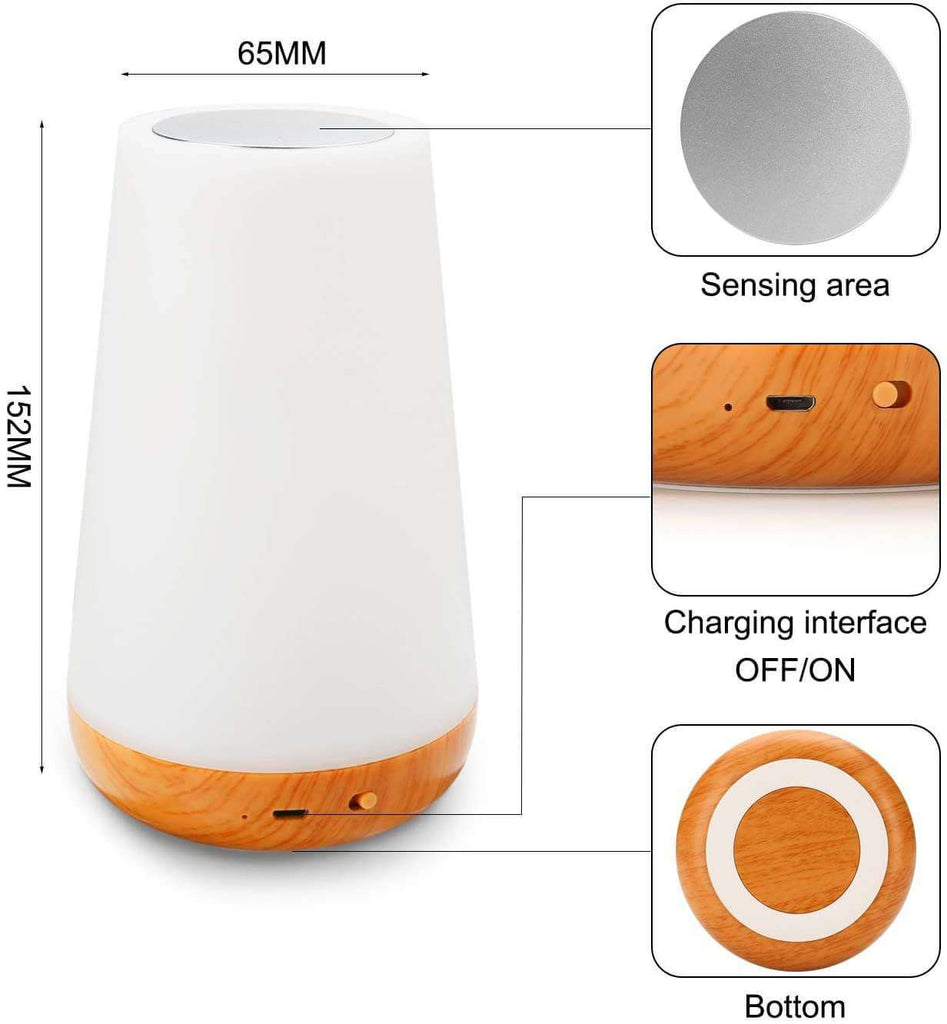 Table Touch Night Light 4 Quickly Charge USB Port Bedside with Dimming Warm White Light for Bedroom Living Room - Elecstars Capturing Stars in the Dream