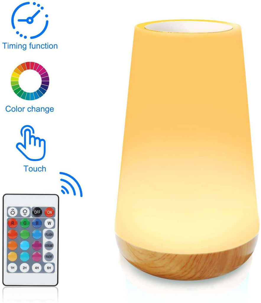 Table Lamp Touch Night Light - 4 Quickly Charge USB Port Bedside Lamps with Dimming Warm White Light 13 Colors RGB Table Lamp for Bedroom Living Room Office Hallways - Elecstars Capturing Stars in the Dream