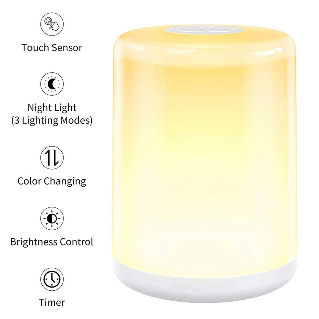 Touch Control Table Lamp Dimmable Warm White Night Light - RGB Color Changing Lighting & Memory Function Bedside Light - Elecstars.com