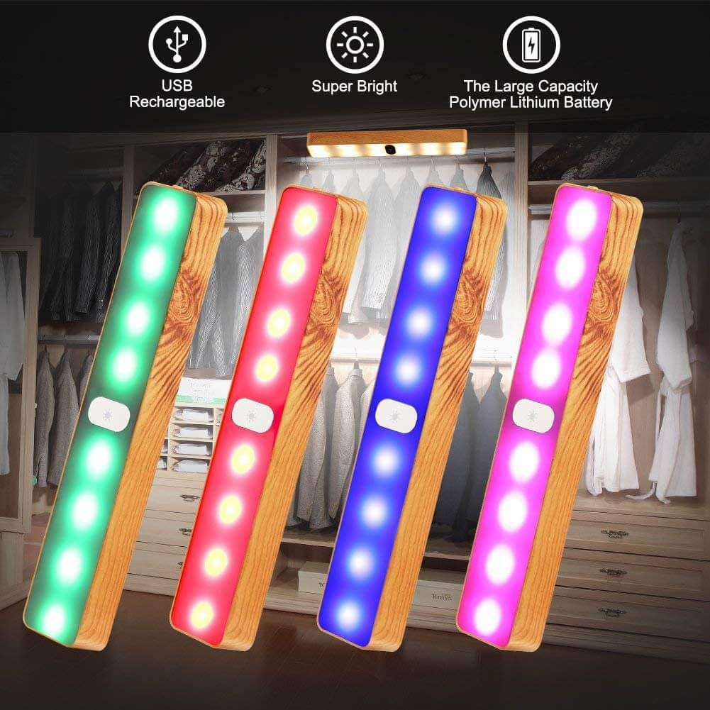 Portable Wooden-Grain Cabinet Light,USB Charging Lights with Seven Colors, Easy to Stick-on Ultra Bright for Wardrobe Kitchen Warehouse Bedroom Outdoor