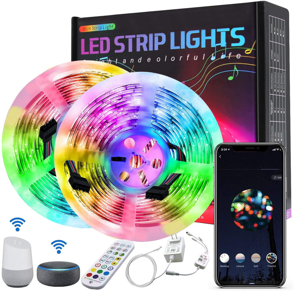 Smart WiFi Strip Lights Work with Aleax 32.8ft RGB LED Light Strip 5050 LED Tape Lights, 16 Million Colors Lights App Remote Sync to Music for Kitchen Bar Home Decoration Bedroom Flexible Strip Lights - Elecstars Capturing Stars in the Dream