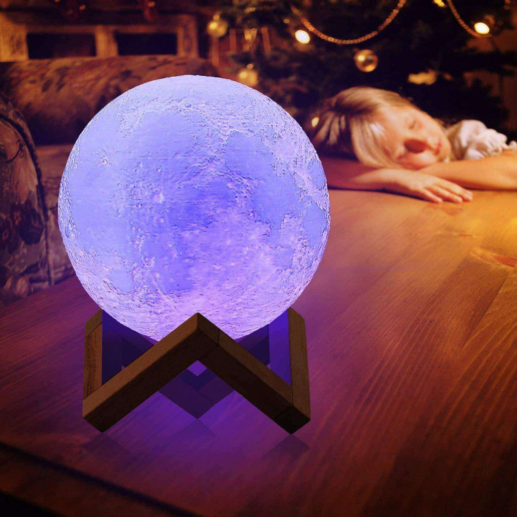 Moon Night Light 3D Printing LED 16 Colors Give Her a Moon Gift Precious Little Sleep Aid for Kids - Elecstars Capturing Stars in the Dream