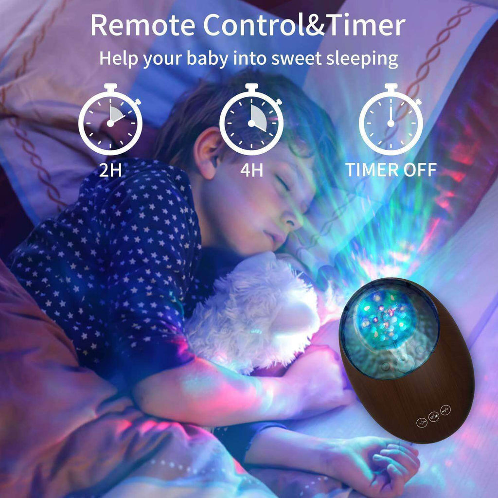Ocean Wave Projector Night Light Black Bluetooth Sound Machine Remote Voice Control Baby Nighttime Sleep Aids - Elecstars Capturing Stars in the Dream