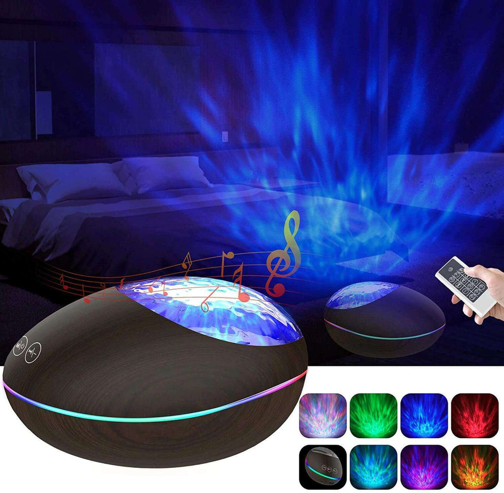 Ocean Wave Projector Night Light Black Bluetooth Sound Machine Remote Voice Control Baby Nighttime Sleep Aids - Elecstars.com