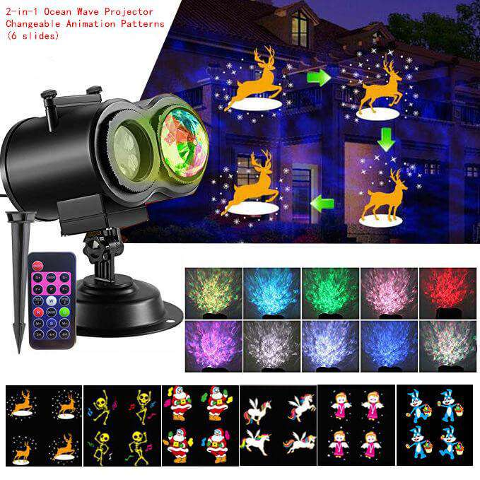 Star Shower Slideshow Projector Light Water Wave 2-in-1 Moving 12 Patterns LED Double Projector Lamp - Elecstars.com