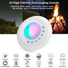 White And Pink Noise Machine Baby Sound Machine With Projector Light Moon Star Nighttime Sleep Aid - Elecstars Capturing Stars in the Dream