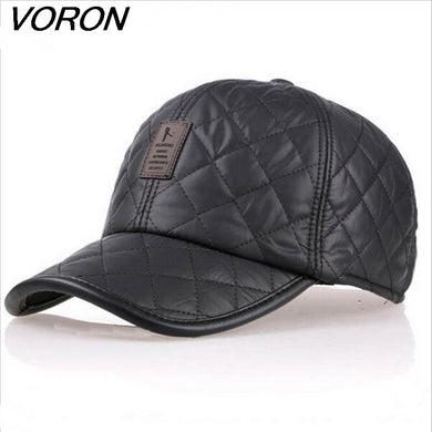e7fe6049 VORON High quality baseball cap men autumn winter Fashion Caps waterproof  fabric Hats Thick warm earmuffs