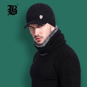 f480280d8c2  FLB  Skullies Beanies Men Scarf Knitted Hat Cap Male Plus Gorras Bonnet  Warm Wool Thick Winter Hats For Men Women Beanie F18041