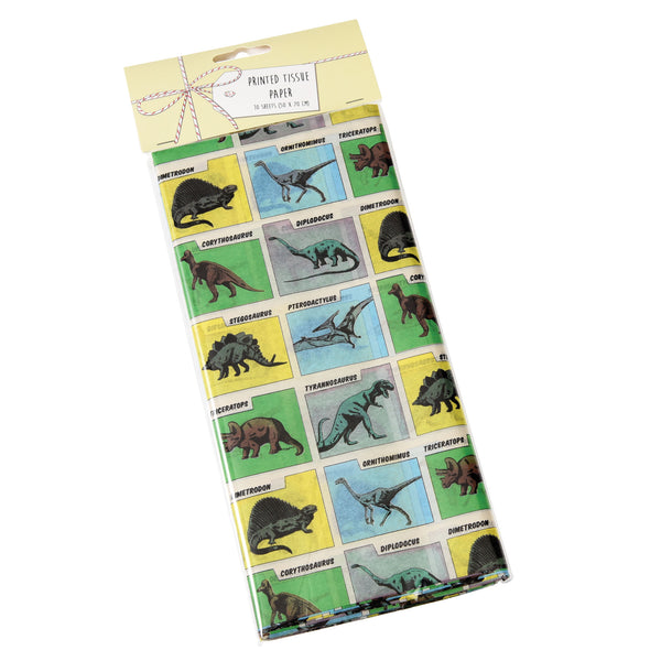 Prehistoric Land tissue paper with comic book style dinosaurs