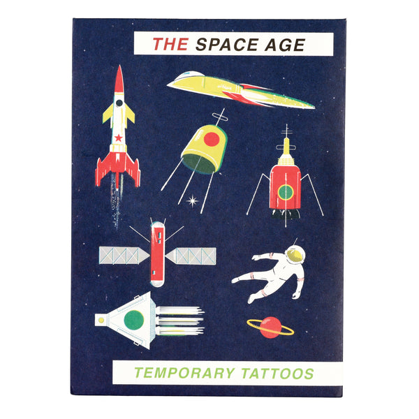 Space Age rocket and planet temporary tattoos