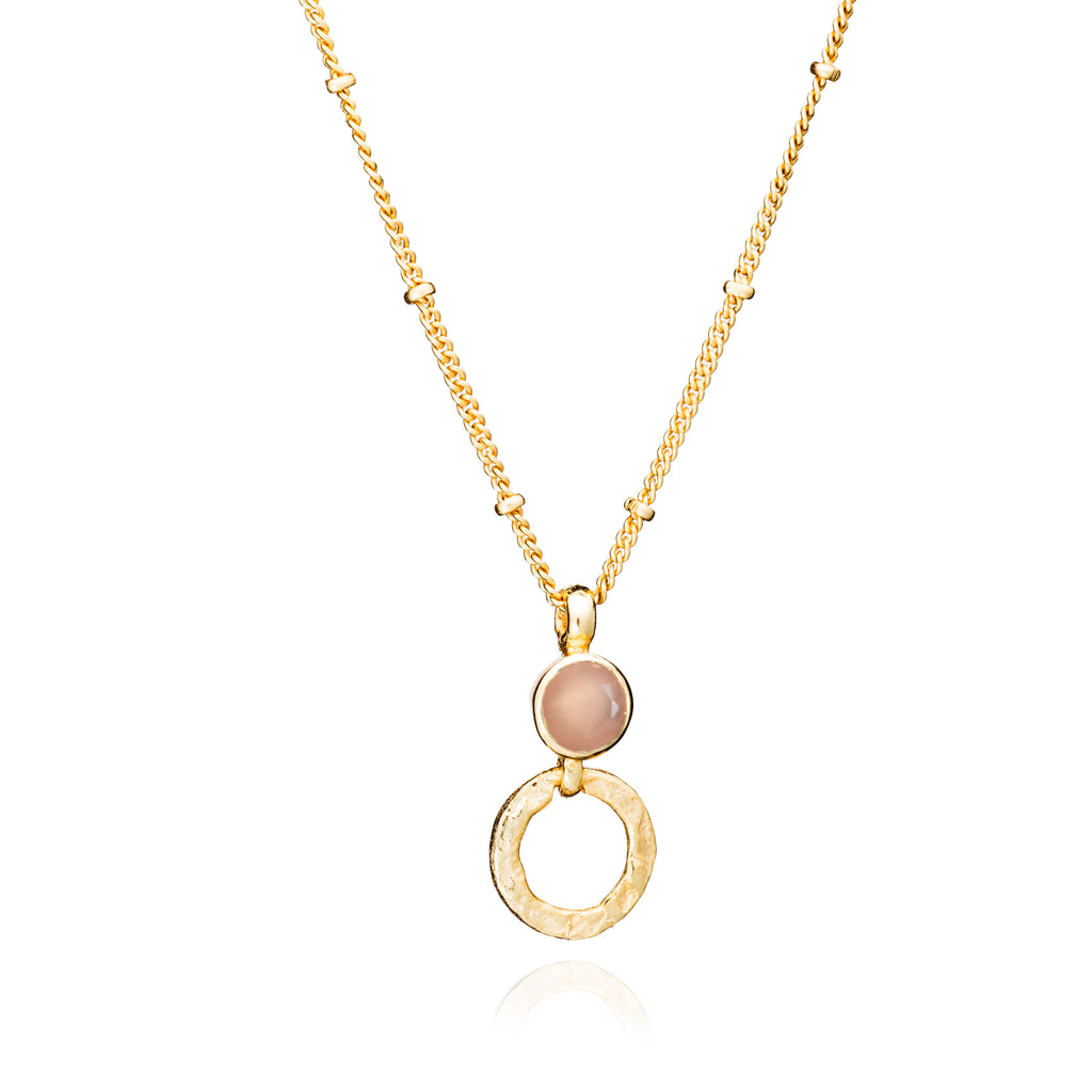 Azuni 'Larissa' Necklace - Peach Moonstone (Gold)