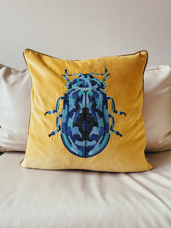 My Doris BLUE BEETLE ON MUSTARD CUSHION