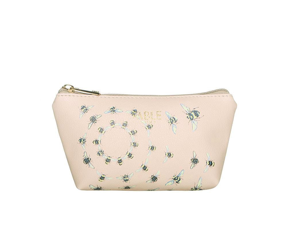 Fable Beige Small vintage bee print makeup bag