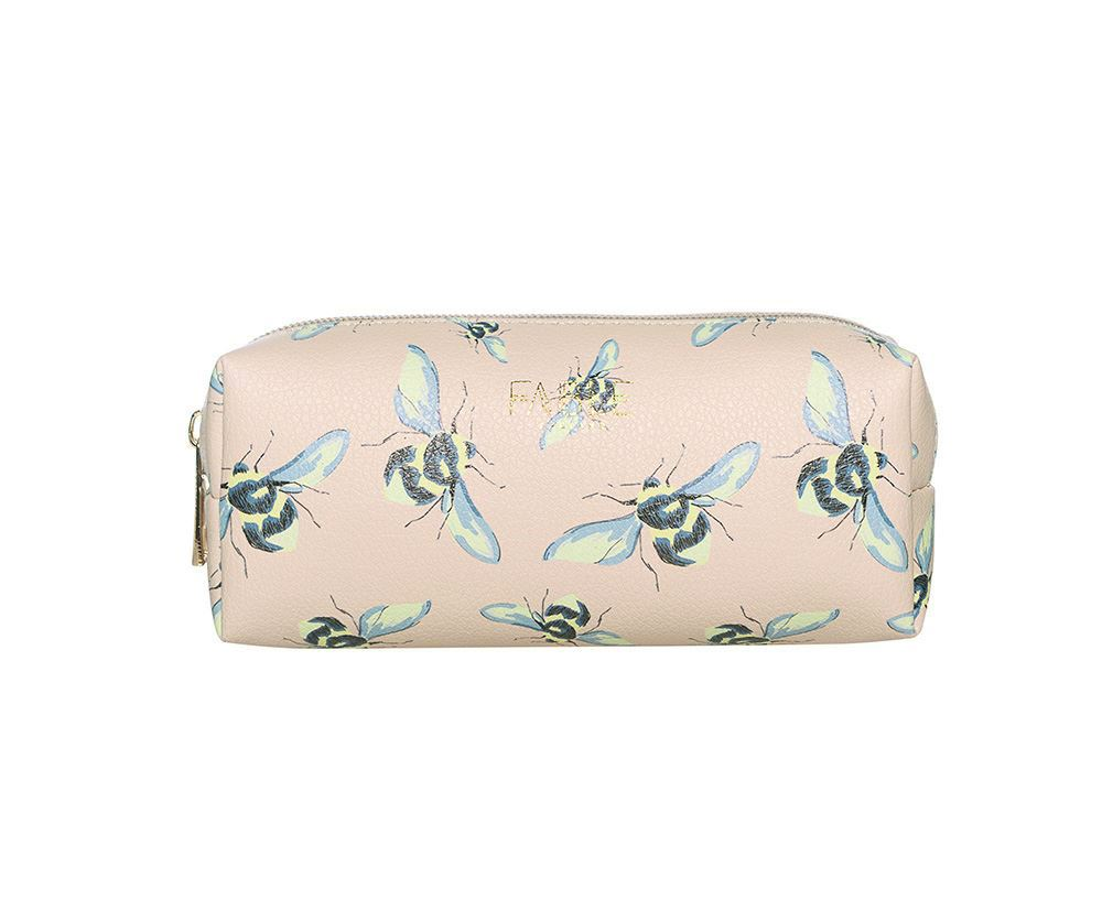 Beige vintage bee print makeup bag/pencil case