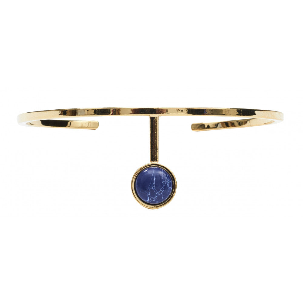 Dansk Copenhagen -  Bangle with Planet Blue centre stone (Gold)