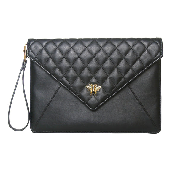 Alice Wheeler Bumblebee Envelope Clutch Bag - black