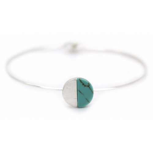 Brushed silver turquoise wire Bracelet