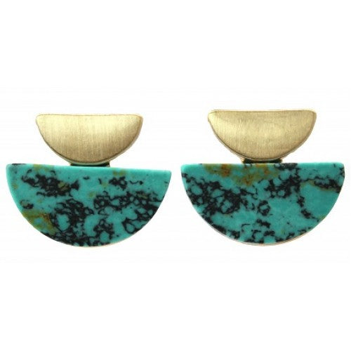 Art deco brushed gold turquoise studs