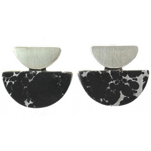Art deco brushed silver black marble studs