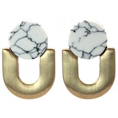 Art deco brushed gold white marble u-shaped studs