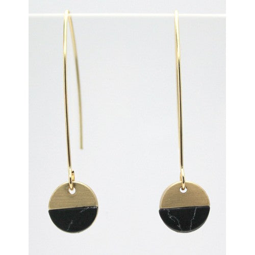 Black marble brushed gold hoop earring