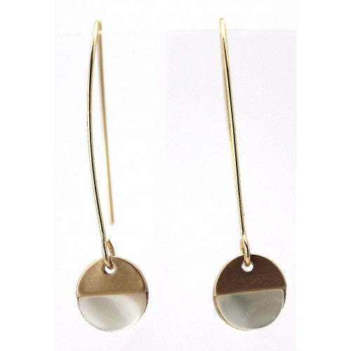 mother of peal brushed gold hoop earring