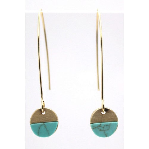 Turquoise brushed gold hoop earring