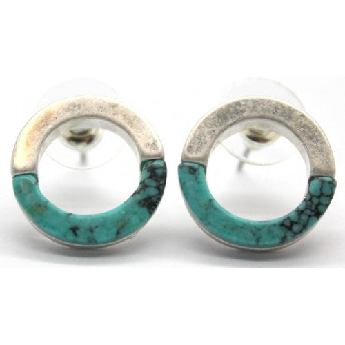 Open circle silver turquoise studs