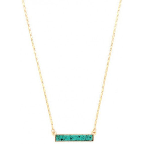 Turquoise & gold retangluar Shape necklace