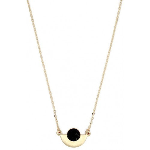 Lark Art Deco Fan Necklace - Black Marble