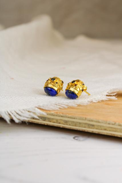 My Doris BLUE ONYX AND GARNET STUDS