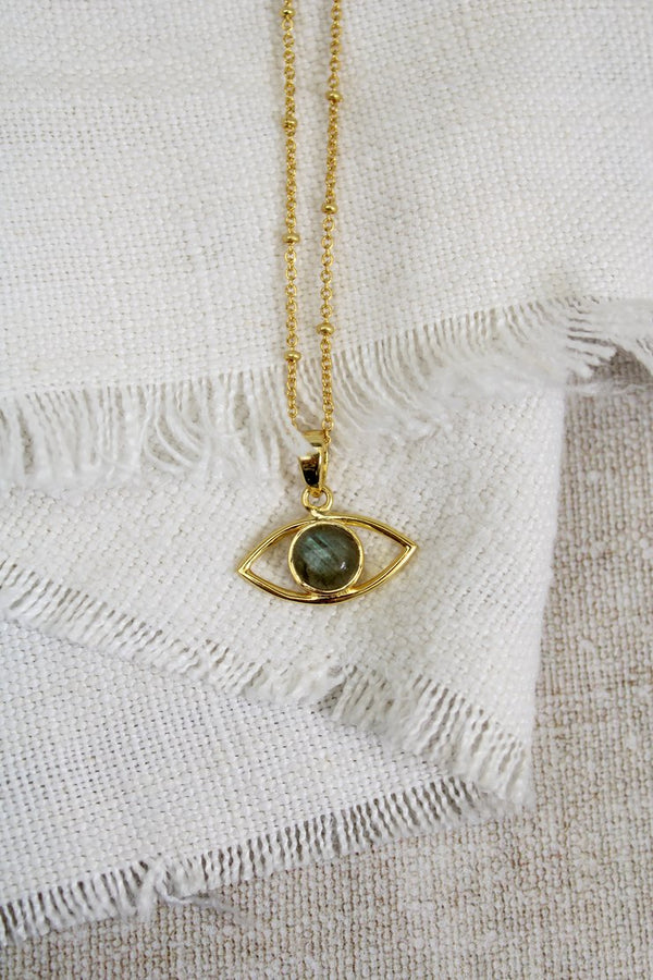 My Doris LABRADORITE EYE NECKLACE